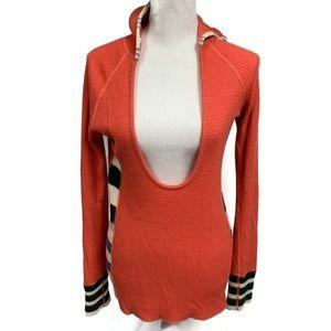 FREE PEOPLE thermal waffle knit hoodie orange M